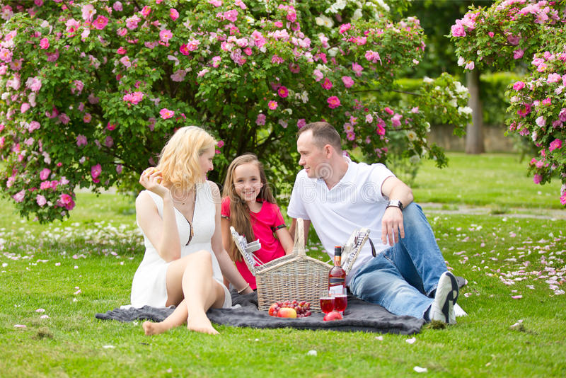 Young happy family having picnic outdoors royalty free stock image