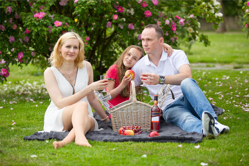 Young happy family having picnic outdoors stock photography