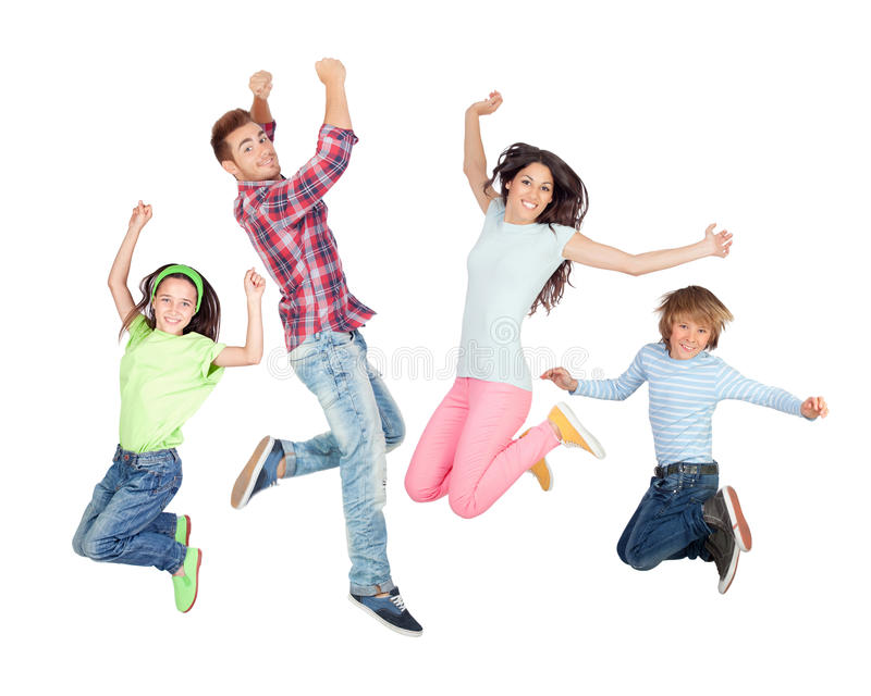 Young happy family jumping stock photo