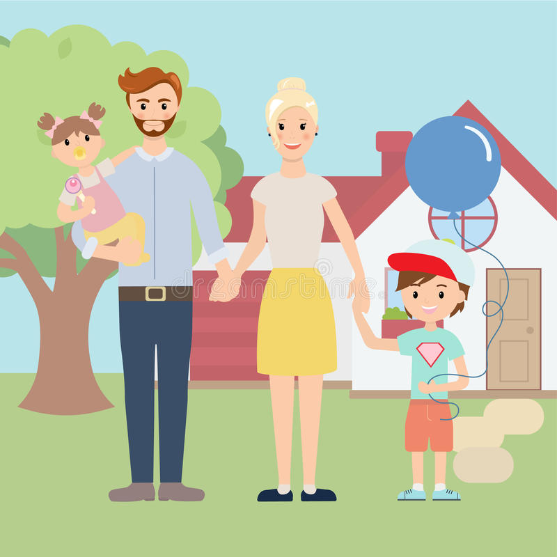 Young happy family outside in front of beautiful new house. Family members near their home. Family new home stock illustration