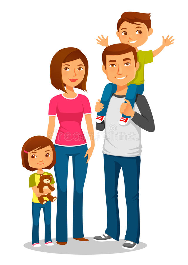 Young happy family with two kids stock illustration