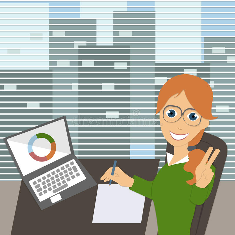 Young happy female clerk sitting at the desk, signs documents, P. Eace Symbol, modern office, effective employee. Smiling office worker inspecting documents royalty free illustration