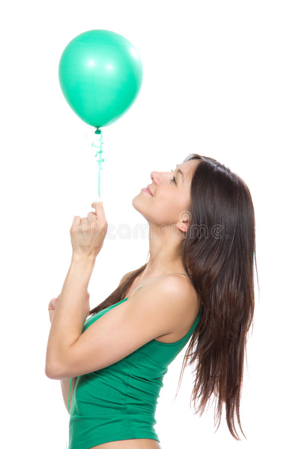 Download Young Happy Girl With Green Balloon Stock Photo - Image: 25000922