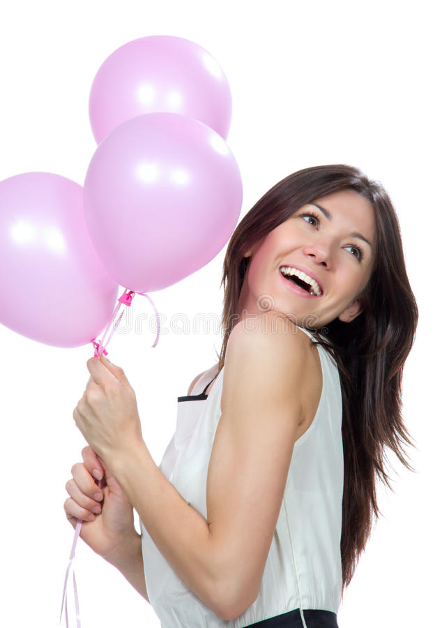 Download Young Happy Girl With Pink Balloons Stock Image - Image of female, caucasian: 25000909