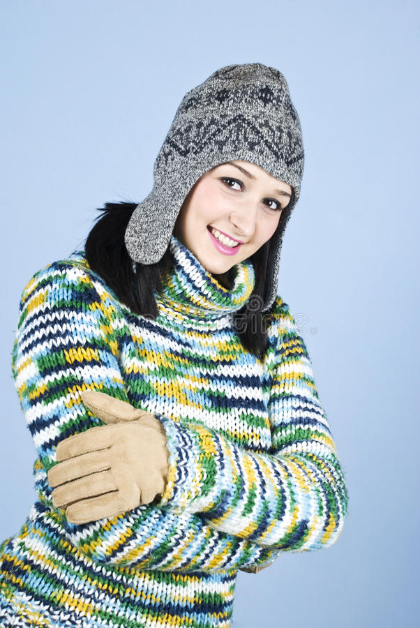Young Happy Girl In Winter Clothes Royalty Free Stock Photos