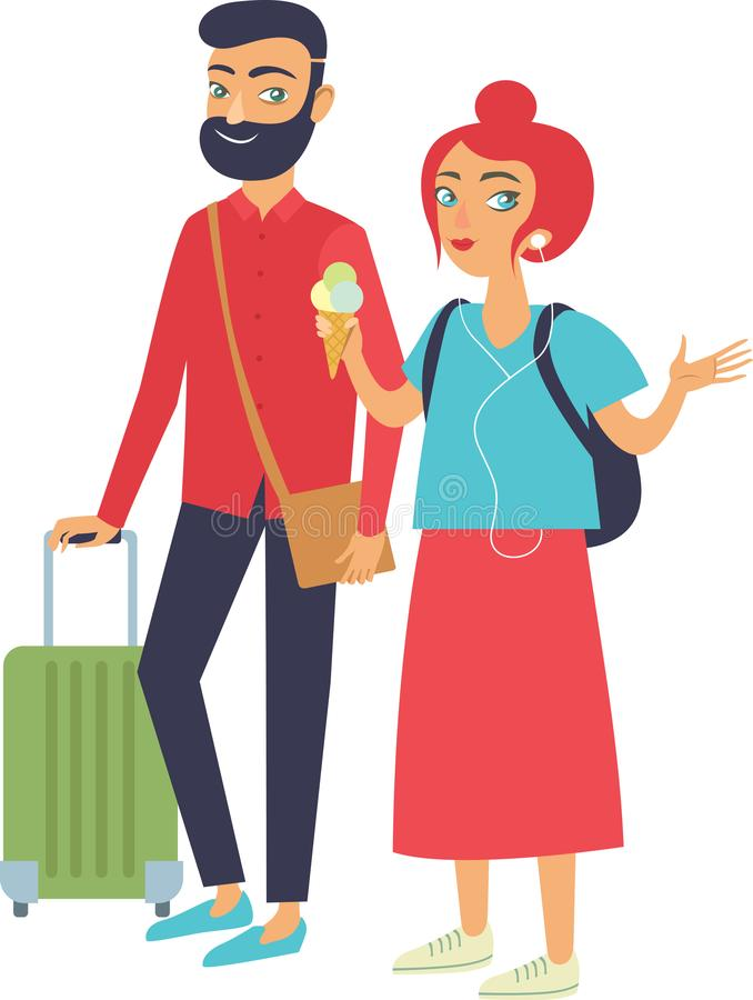 Young happy hipsters couple travelling vector illustration