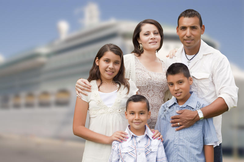 Young Happy Hispanic Family In Front Of Cruise Ship Stock ...