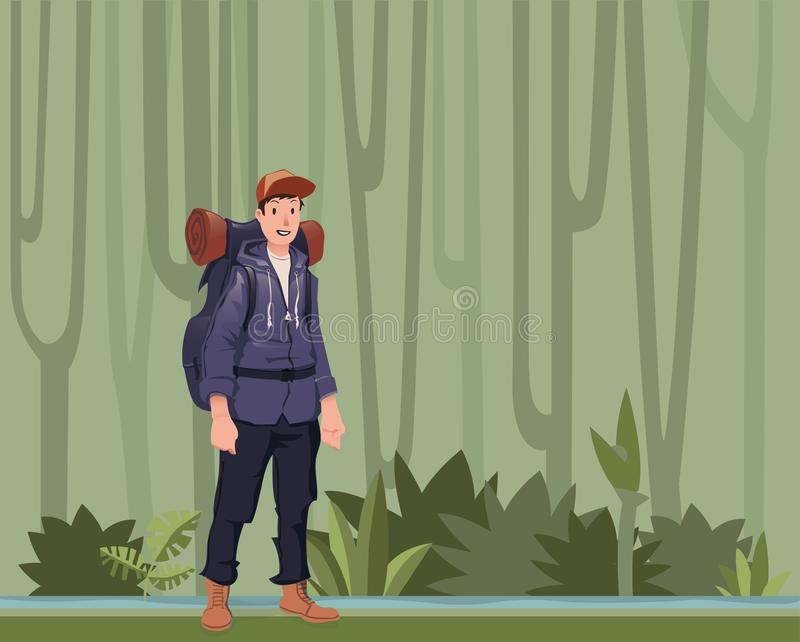 A young man, backpacker in the jungle forest. Hiker, Explorer. Vector Illustration with copy space. vector illustration