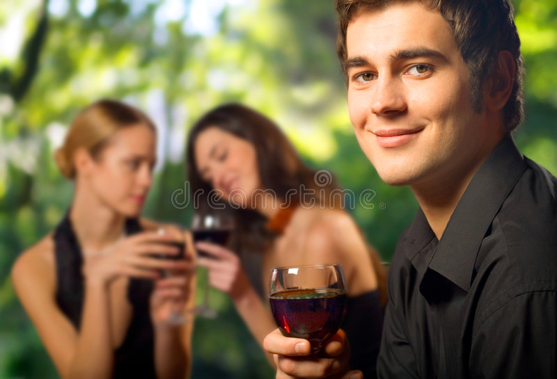 Young happy man celebrating royalty free stock photography