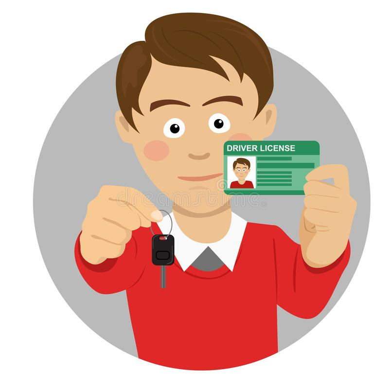 Young happy man showing his car keys and driving license. Young happy caucasian man showing his car keys and driving license stock illustration