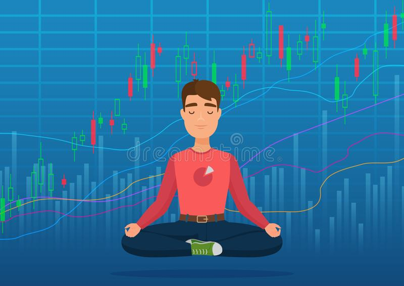 Young happy man trader meditating under crypto or stock market exchange chart concept. Business trader, finance stock vector illustration
