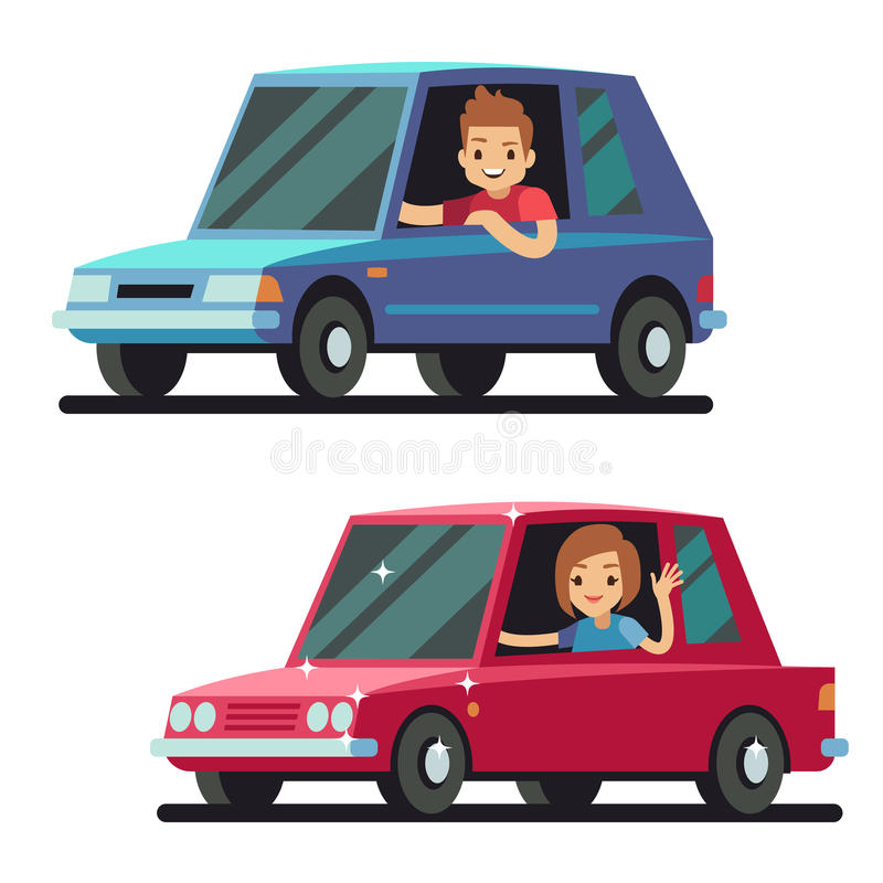Young happy man and woman driver driving cars flat vector concept. Car drivers male, illustration of woman driving stock illustration