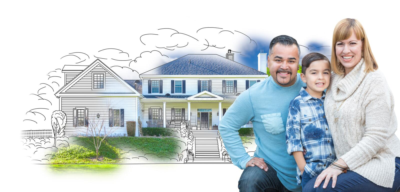 Young Mixed Race Family and Ghosted House Drawing. Young Happy Mixed Race Family and Ghosted House Drawing on White stock images