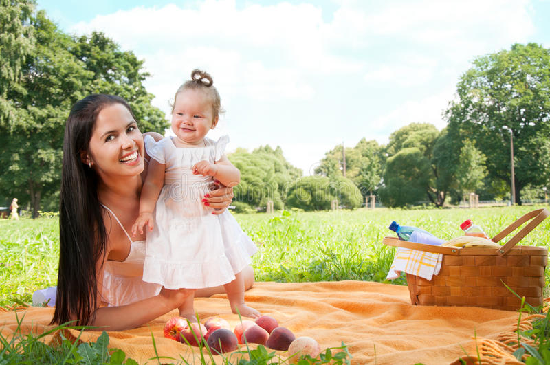 Download Young Happy Mother With Daughter In The Park Picnicking Stock Image - Image: 35625345