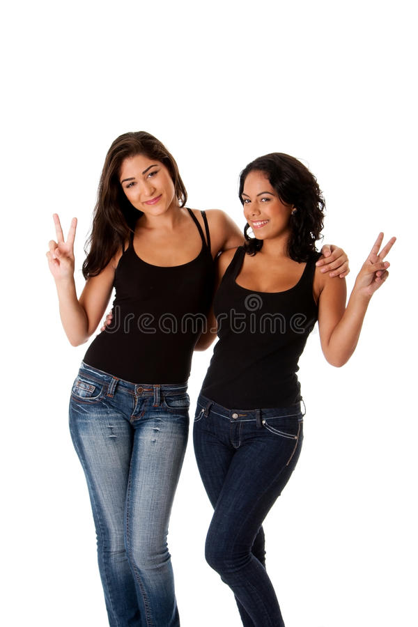 Download Young happy peace girls stock image. Image of fingers - 15526377