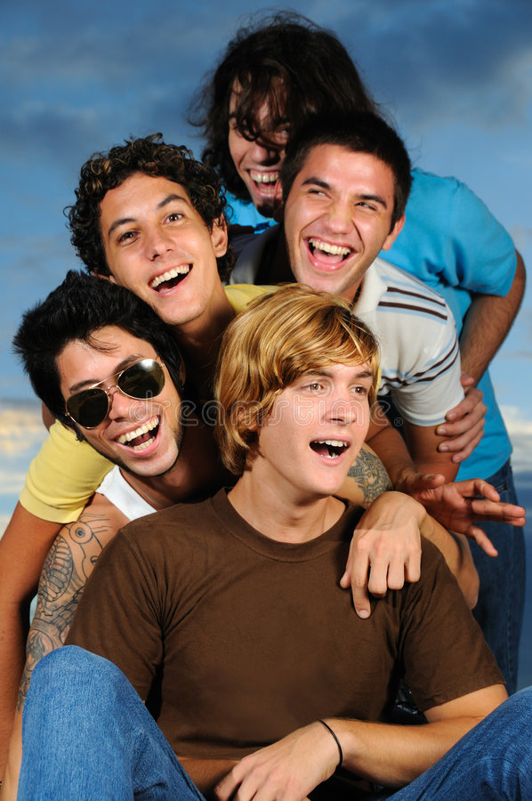 Young happy people. Portrait of young male friends having fun together stock images