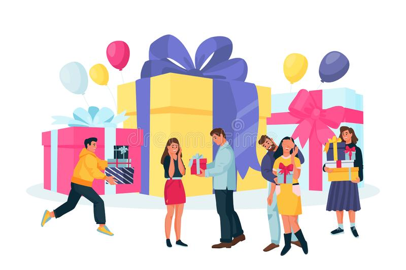 Young happy people with gift boxes. Couples give surprise presents to each other. Vector flat cartoon illustration vector illustration