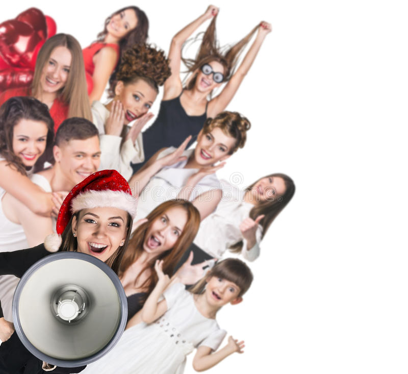 Young happy people and woman with loudspeaker stock image