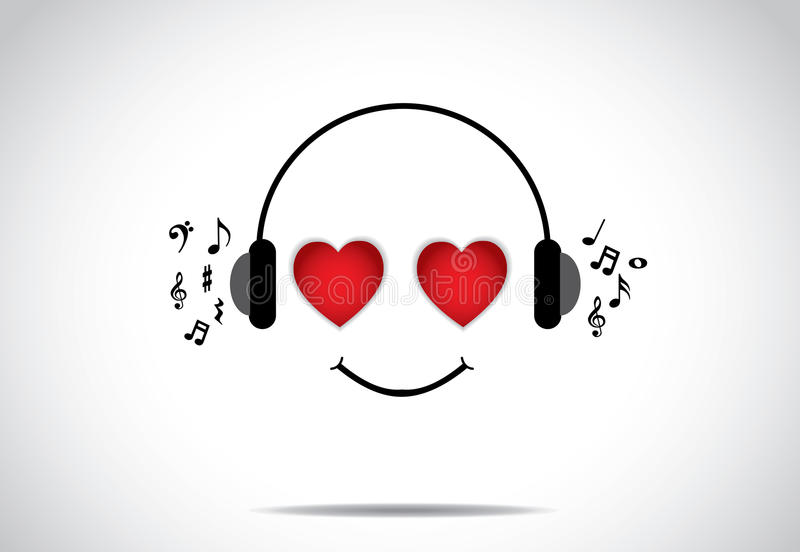 Young happy persion illustration of listening to great music with heart shaped eyes stock illustration