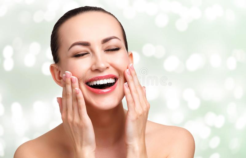 Young happy pretty woman with smooth and clean skin royalty free stock image