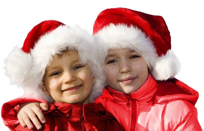Young happy Santas. stock photos