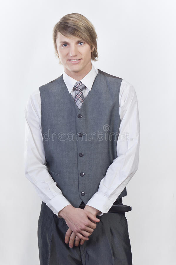 Young happy smile blond businessman