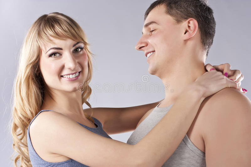 Young happy smiling attractive couple together