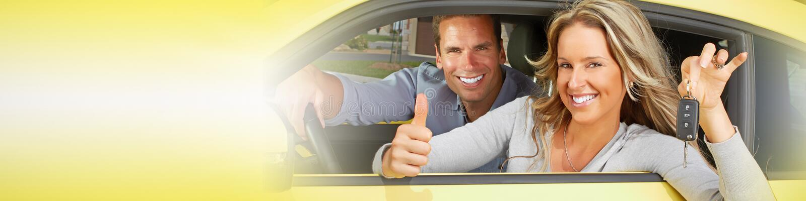 Driver woman. Young happy smiling driver girl with car key royalty free stock photo