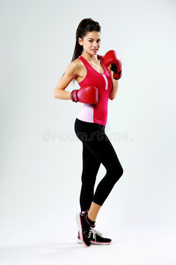 Free Young Happy Sports Woman Standing With Boxing Gloves Royalty Free Stock Image - 37414536