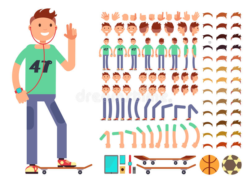 Young and happy vector character creation constructor. Student boy with headphones vector illustration