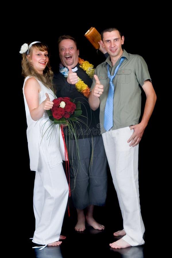 Young happy wedding couple stock photo