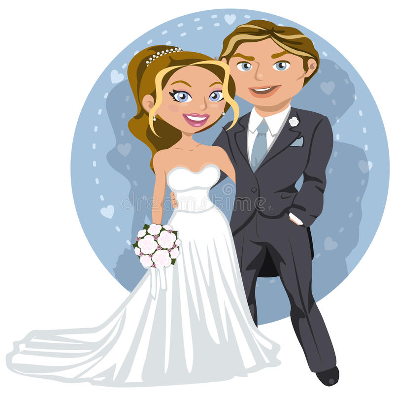 Young wedding couple stock illustration