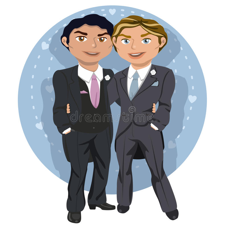 Young gay wedding couple royalty free illustration