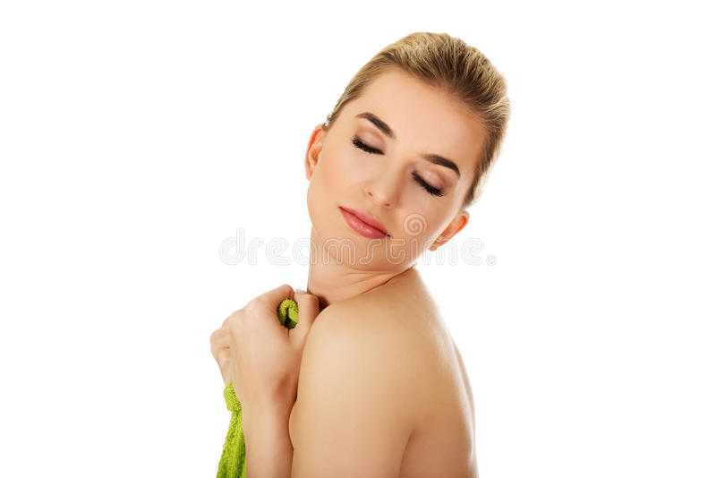 Young happy woman after bath. royalty free stock images