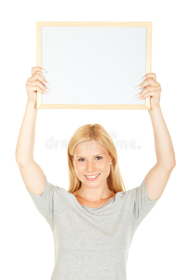 Young Happy Woman With Blank Board Royalty Free Stock Image
