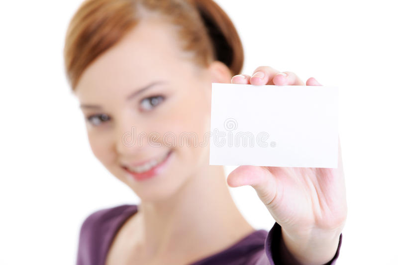 Young happy woman with blank white card royalty free stock photography