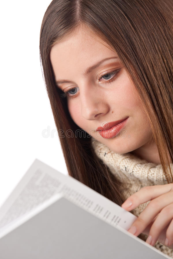 Young Happy Woman With Book Wearing Turtleneck Stock Image