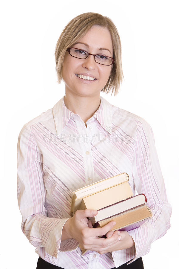 Young happy woman with books royalty free stock image