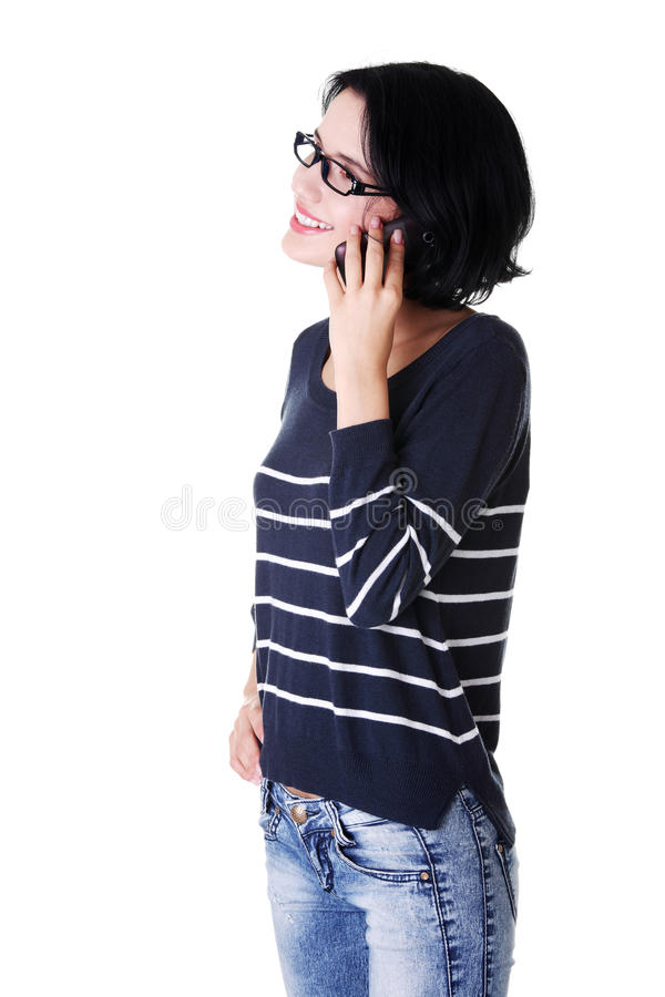 Download Young Happy Woman Is Calling Royalty Free Stock Photo - Image: 28488415