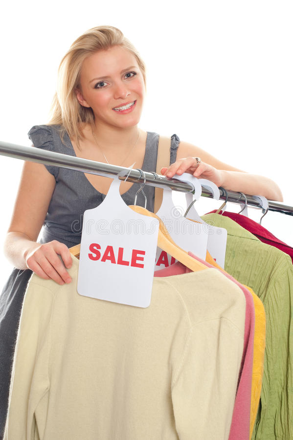 Young Happy Woman In Clothes Store Royalty Free Stock Images