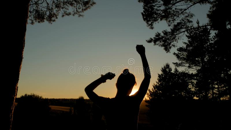 Young happy woman dancing and having fun in park at sunset stock images