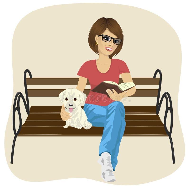 Young happy woman enjoying freetime outside reading book sitting. Young happy woman enjoying freetime outside reading a book sitting on a bench hugging labrador royalty free illustration