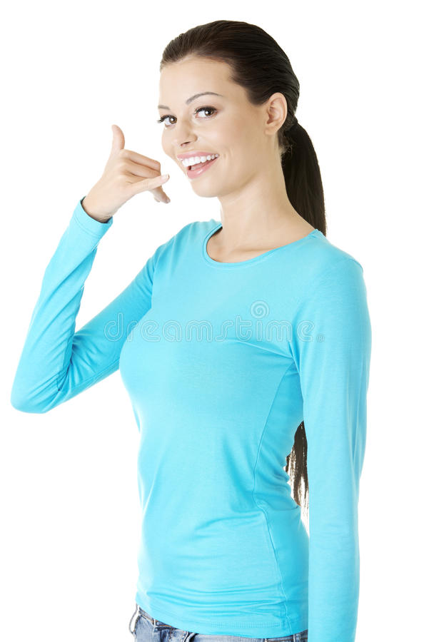 Download Young Happy Woman Gesturing Stock Image - Image: 28488255