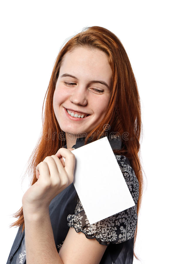 Young happy woman holding big white card royalty free stock image