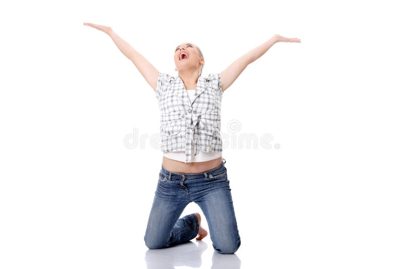Download Young happy woman on knees stock photo. Image of excited - 18188996