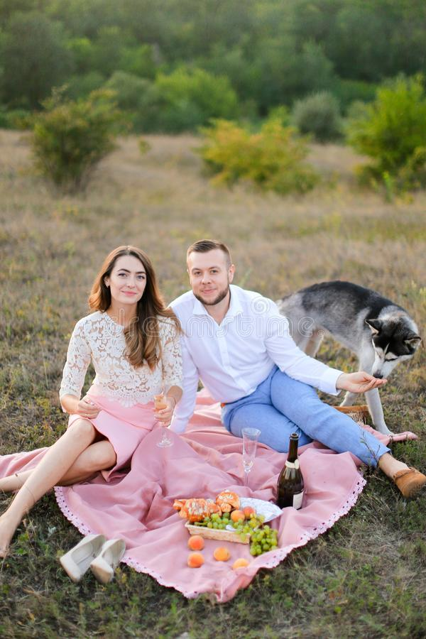 Young happy woman and man sitting on pink plaid in steppe near dog husky. royalty free stock photography