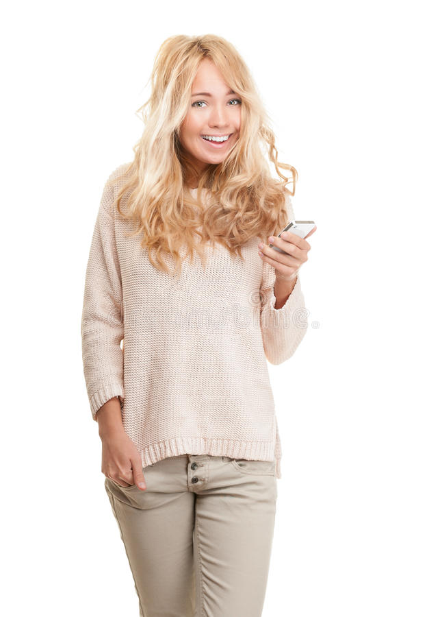 Young happy woman with modern phone on white. royalty free stock photos