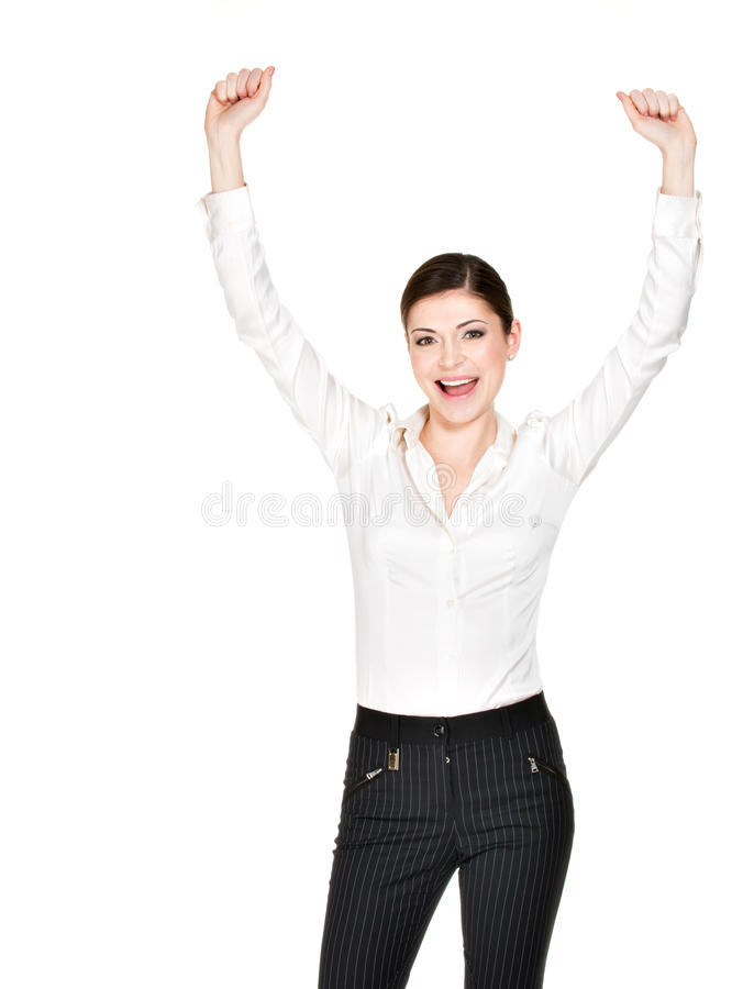 Happy woman with raised hands up in white shirt