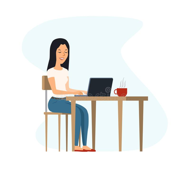 Young, happy woman sitting at the table and working on a laptop. Nearby is a cup of hot coffee vector illustration