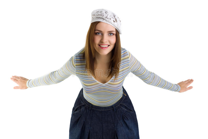 Young happy woman smile. Isolated royalty free stock photography